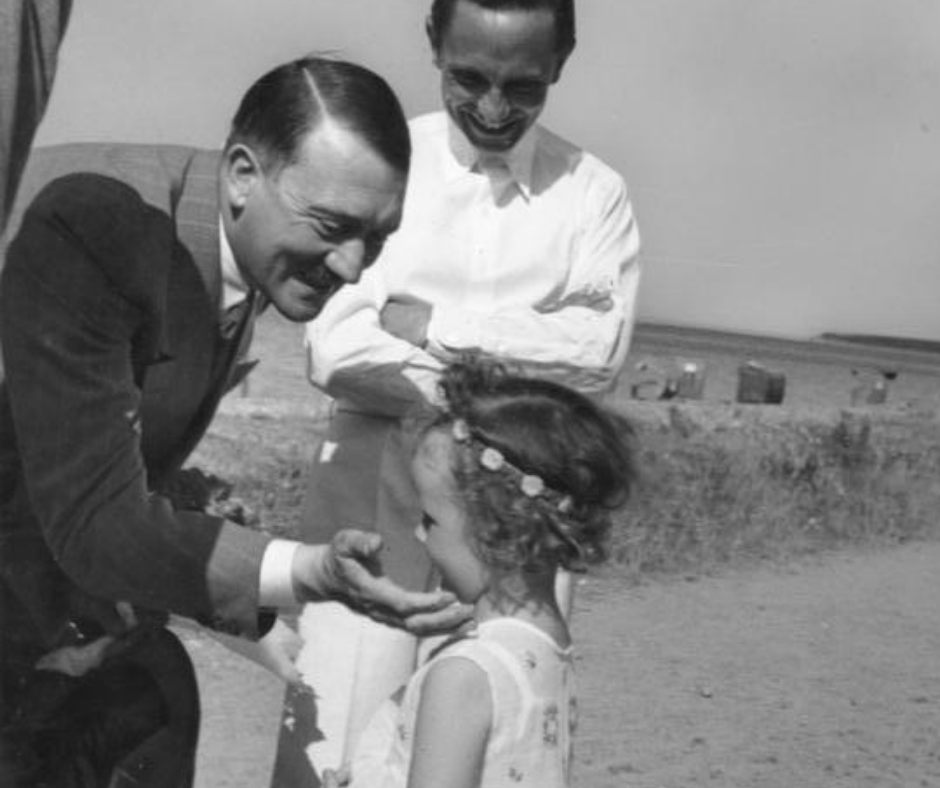 Adolf Hitler, Dr. Joseph Goebbels, and his first daughter Helga