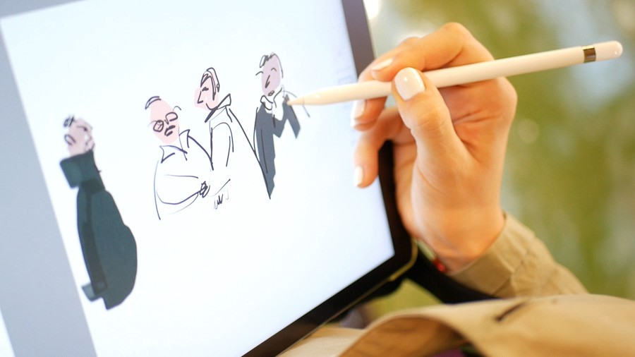 images of a person working on a digital illustration