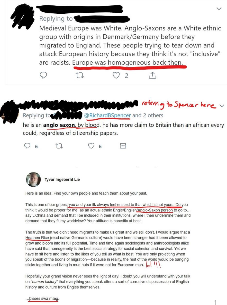 Screenshots of social media comments that are entirely inaccurate. Mostly suggesting that medieval Europe was homogenous.