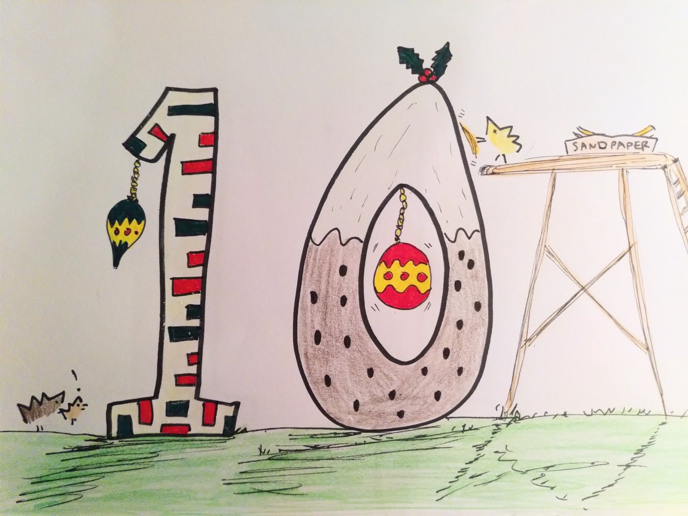 Cartoon of hedgehogs decorating giant numbers.