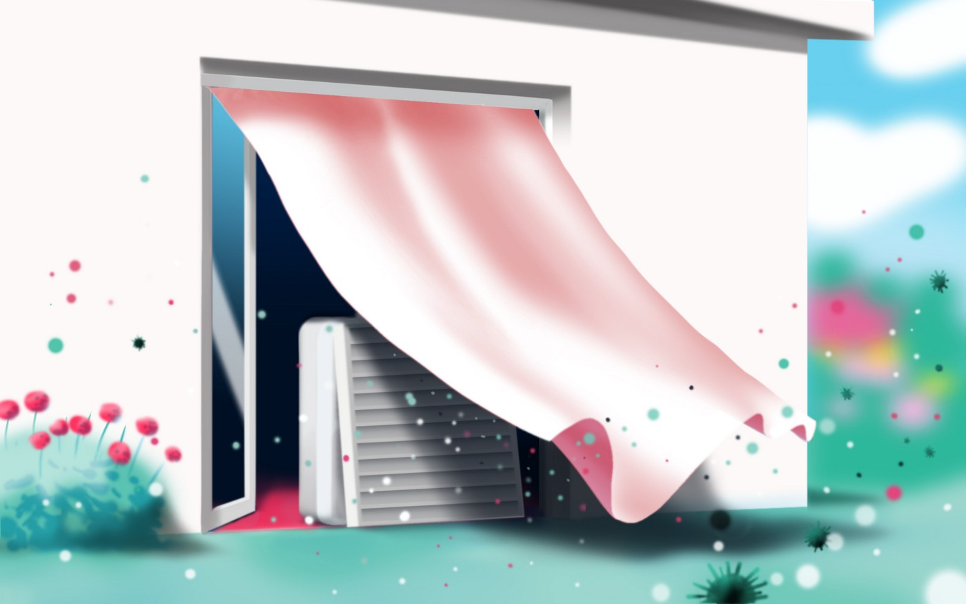 Illustration of a box fan placed by a door blowing air outdoors.