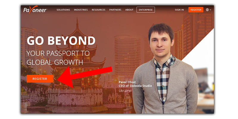 an image that depicts payoneer's homepage without incentives