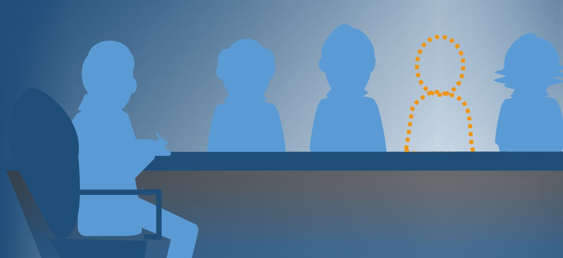 An illustration of seated figures around a table in blue, with one silhouette of a missing participant outlined in yellow