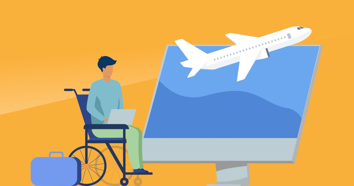 Person traveling by plane in a wheelchair