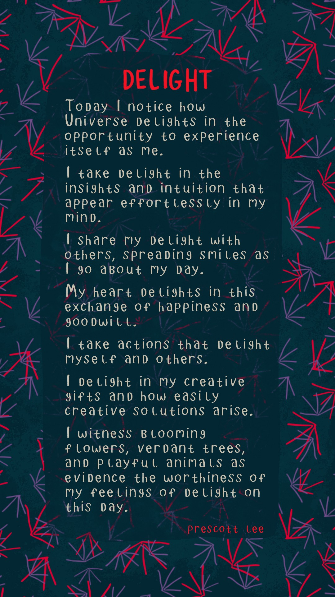 Image of affirmations below on patterned background.