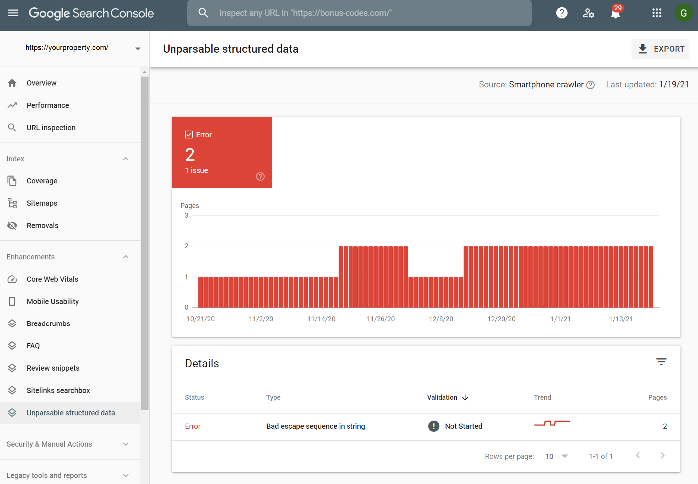 Screenshot of the Unparsable Structured Data report in Google Search Console