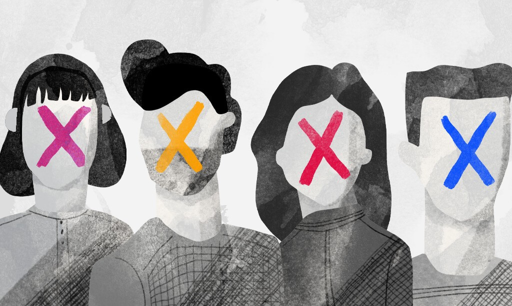 An illustration featuring four people with colorful X's over their blank faces.
