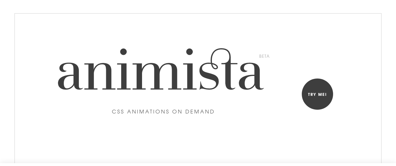 entrance to the Animista, Website Name is written in large font in the center of the image, also, there is a button next to it for entering the website
