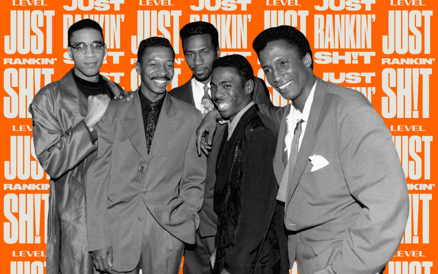 A black and white photo collage of the members of The Five Heartbeats.