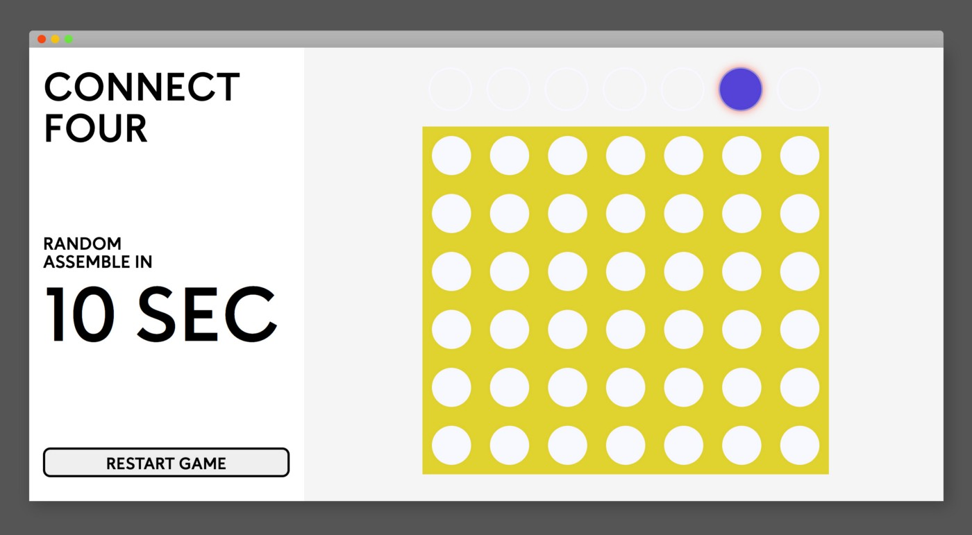 A screenshot of my connect four game I built with jQuery