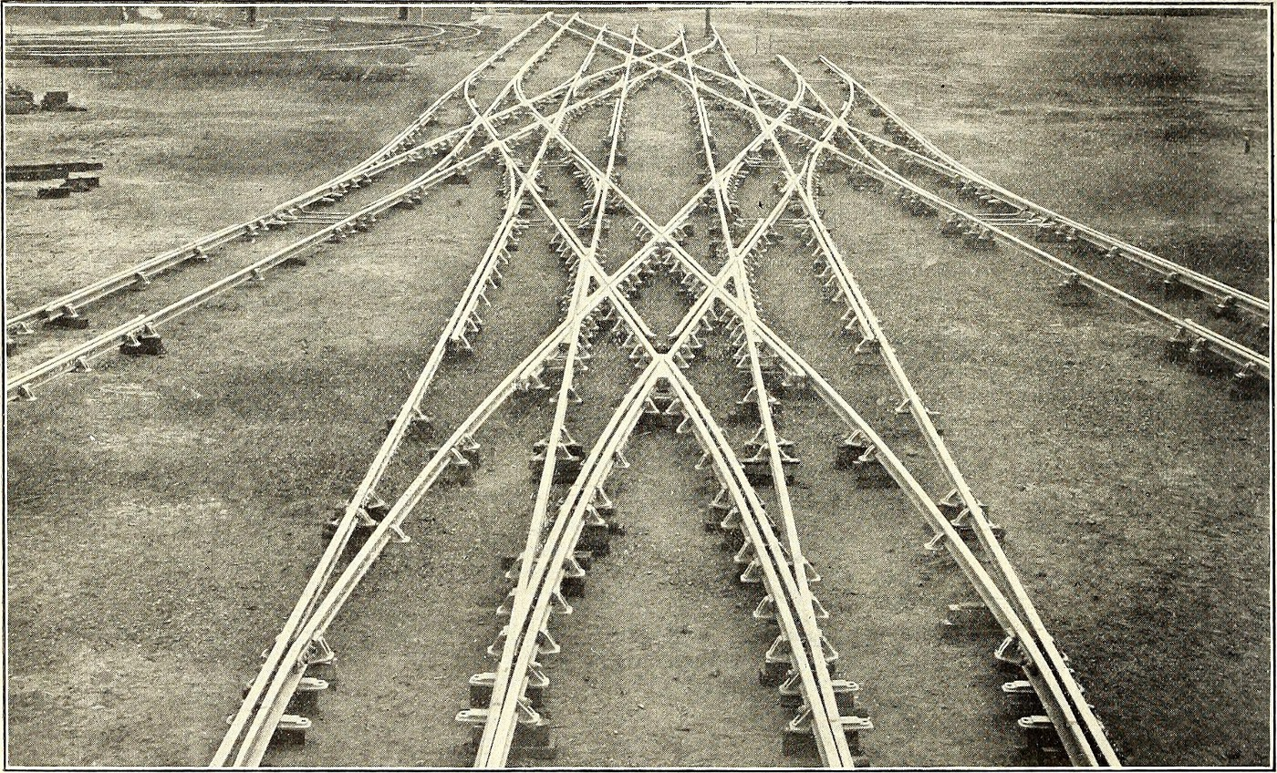 The image shows railroad crossings in Buenos Aires in 1908. It was published in the Electric Railway Journal.