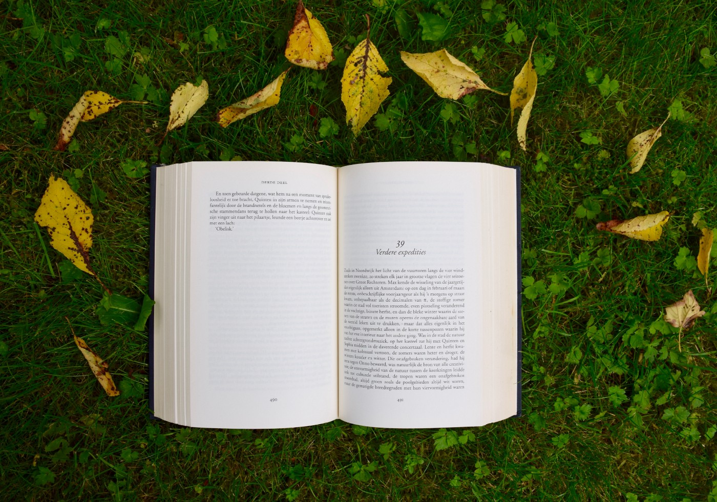 Open paperback book over grass and leaves.