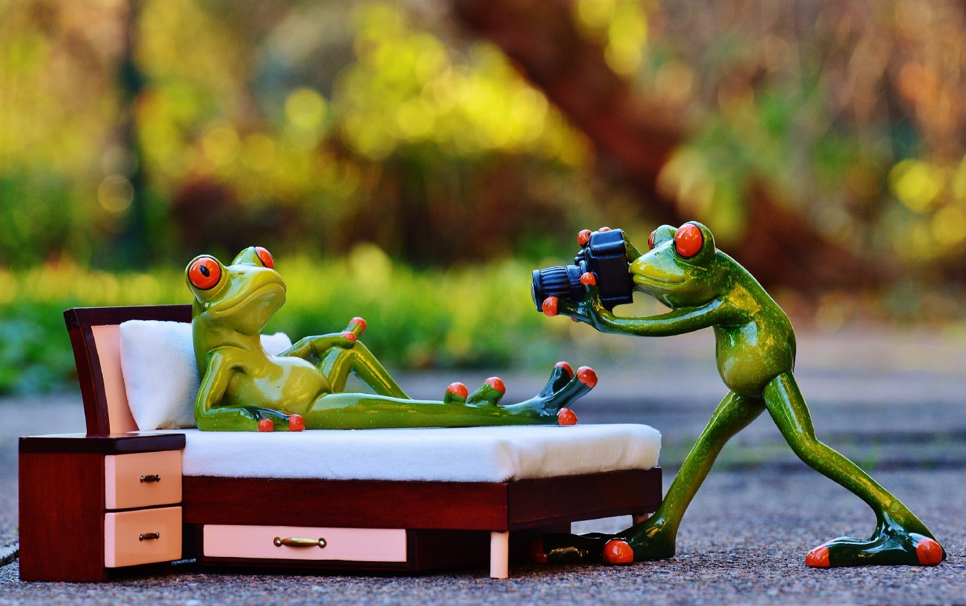 A whimsically humorous green ceramic frog photographs his ceramic frog partner as she reclines on her bed.