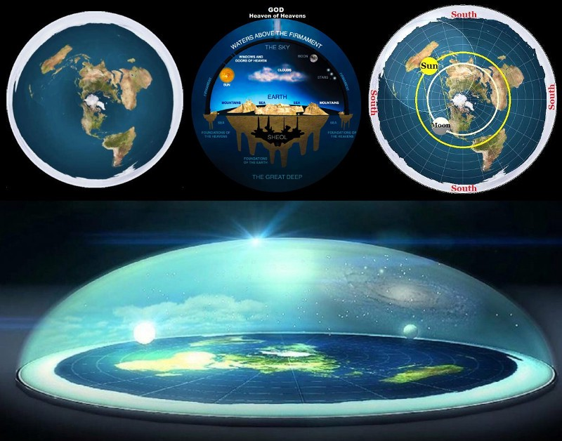 collage of 4 flat earth maps and models
