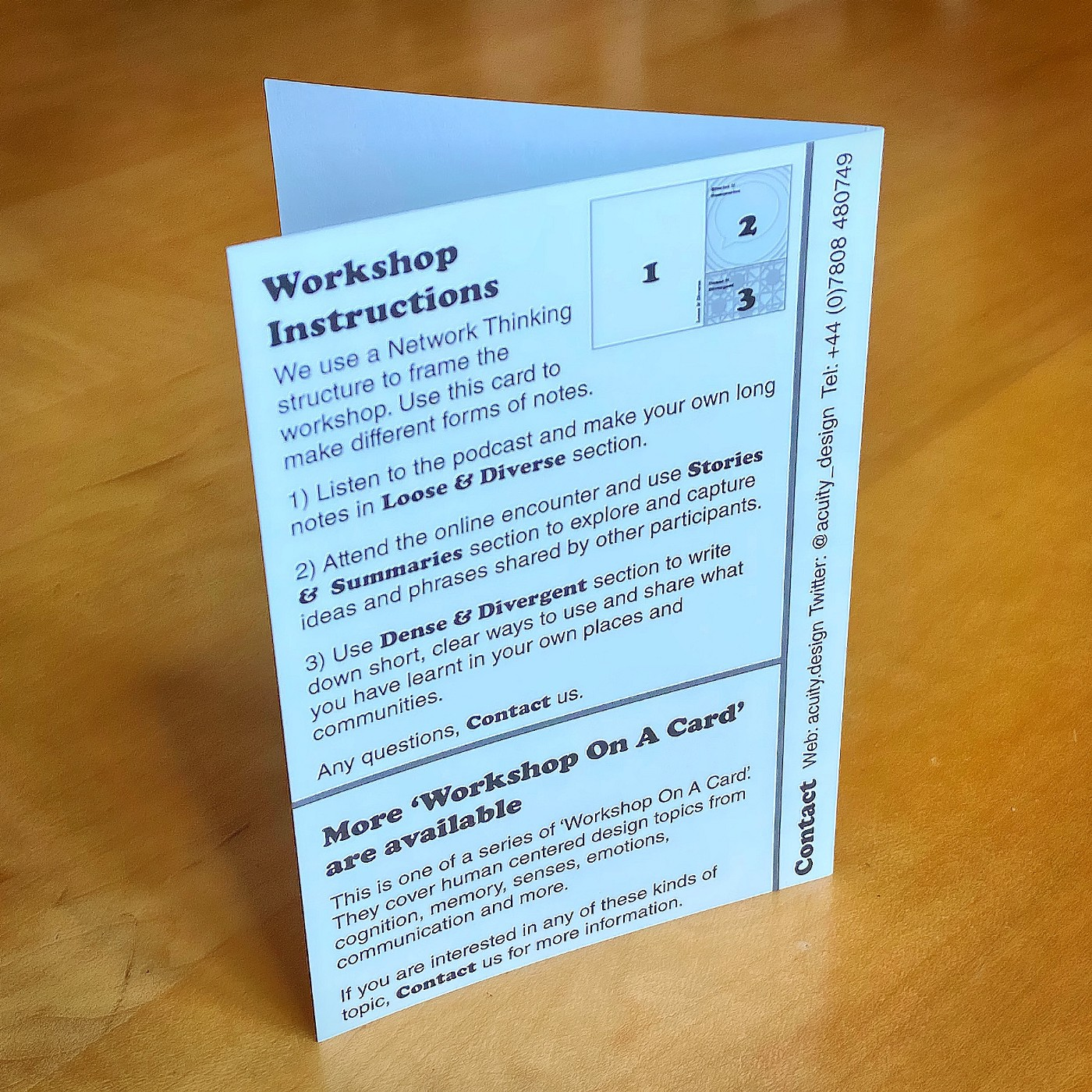 Back of all the cards is the workshop instructions using Network Thinking model