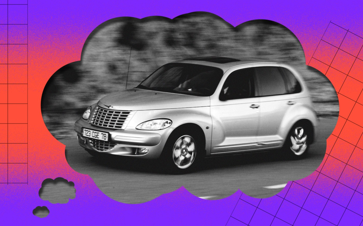 A black and white photo of a PT Cruiser photoshopped onto a thought bubble.