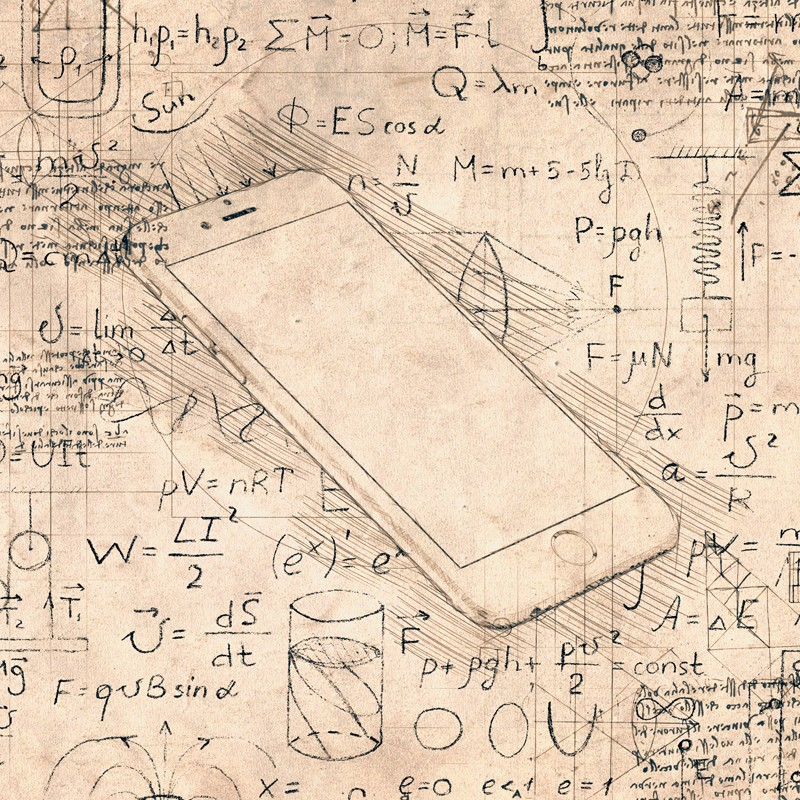 iPhone mockup sketched out in a renaissance theme