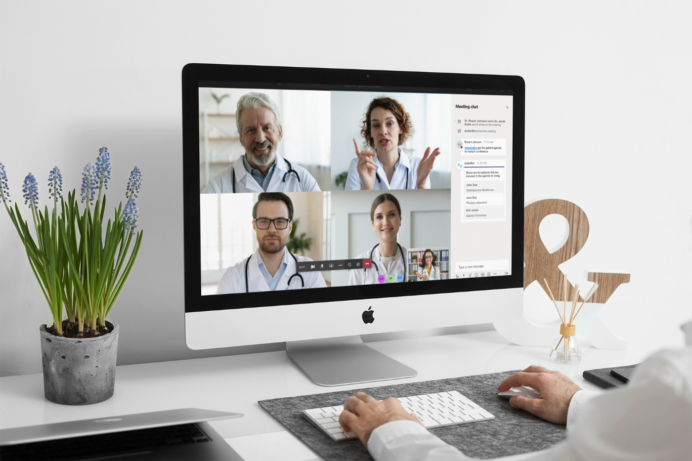 Computer screen with Andor Health video conference