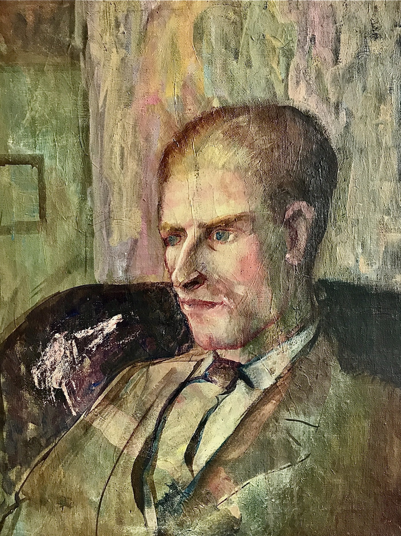 Mixed media primitive painting of an older man sitting in a lounge chair staring intently with a contemplative expression