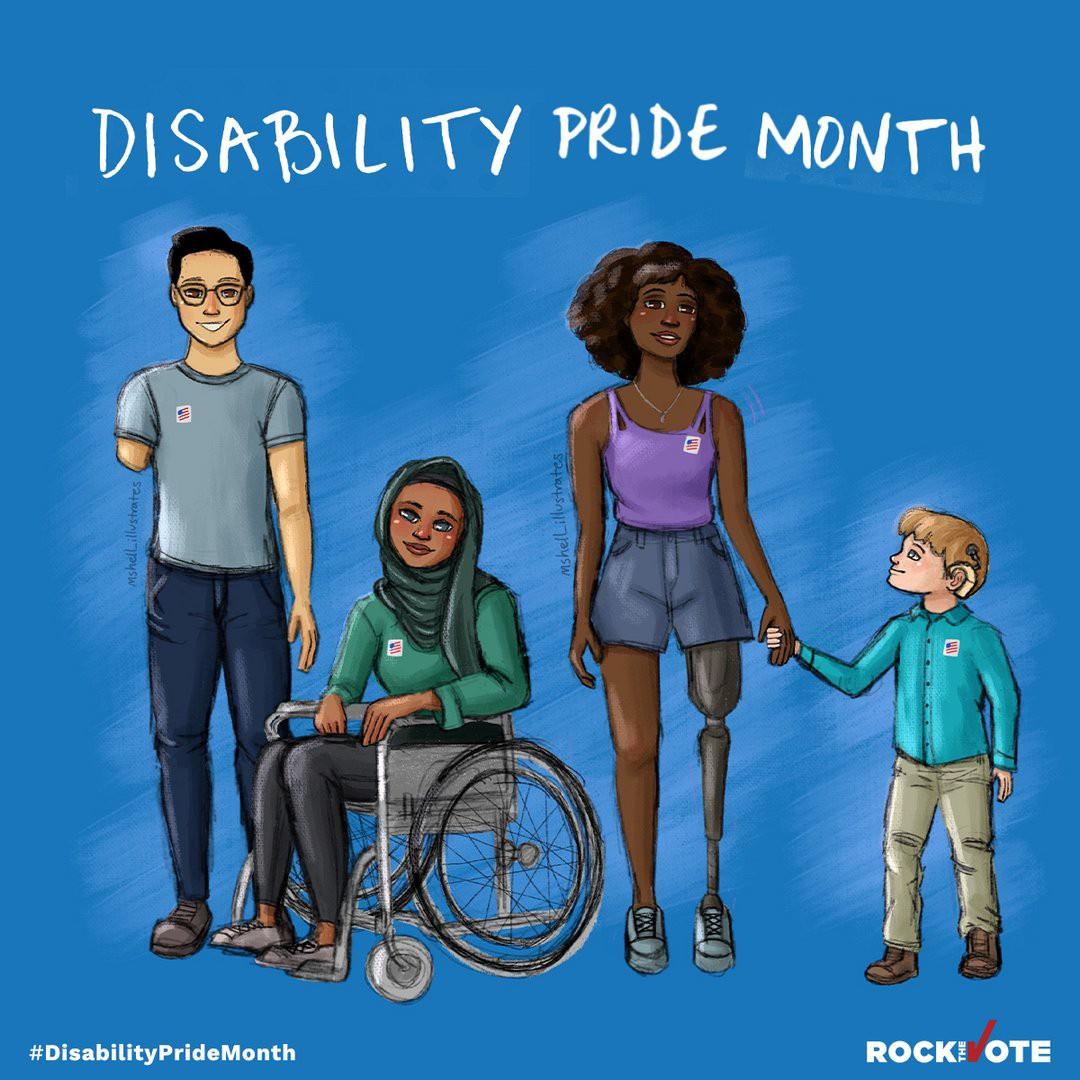 "A diverse group of disabled people under the heading ""Disability Pride Month"""
