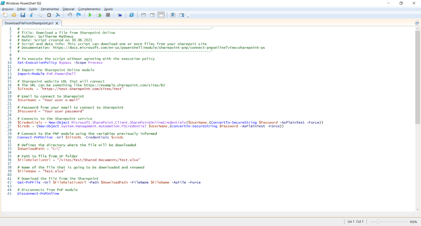 Get file (download) from Sharepoint through PowerShell script