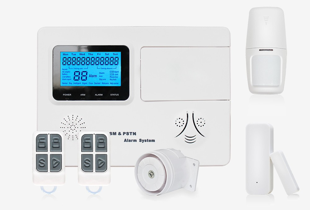 A home security system kit with various devices and sensors
