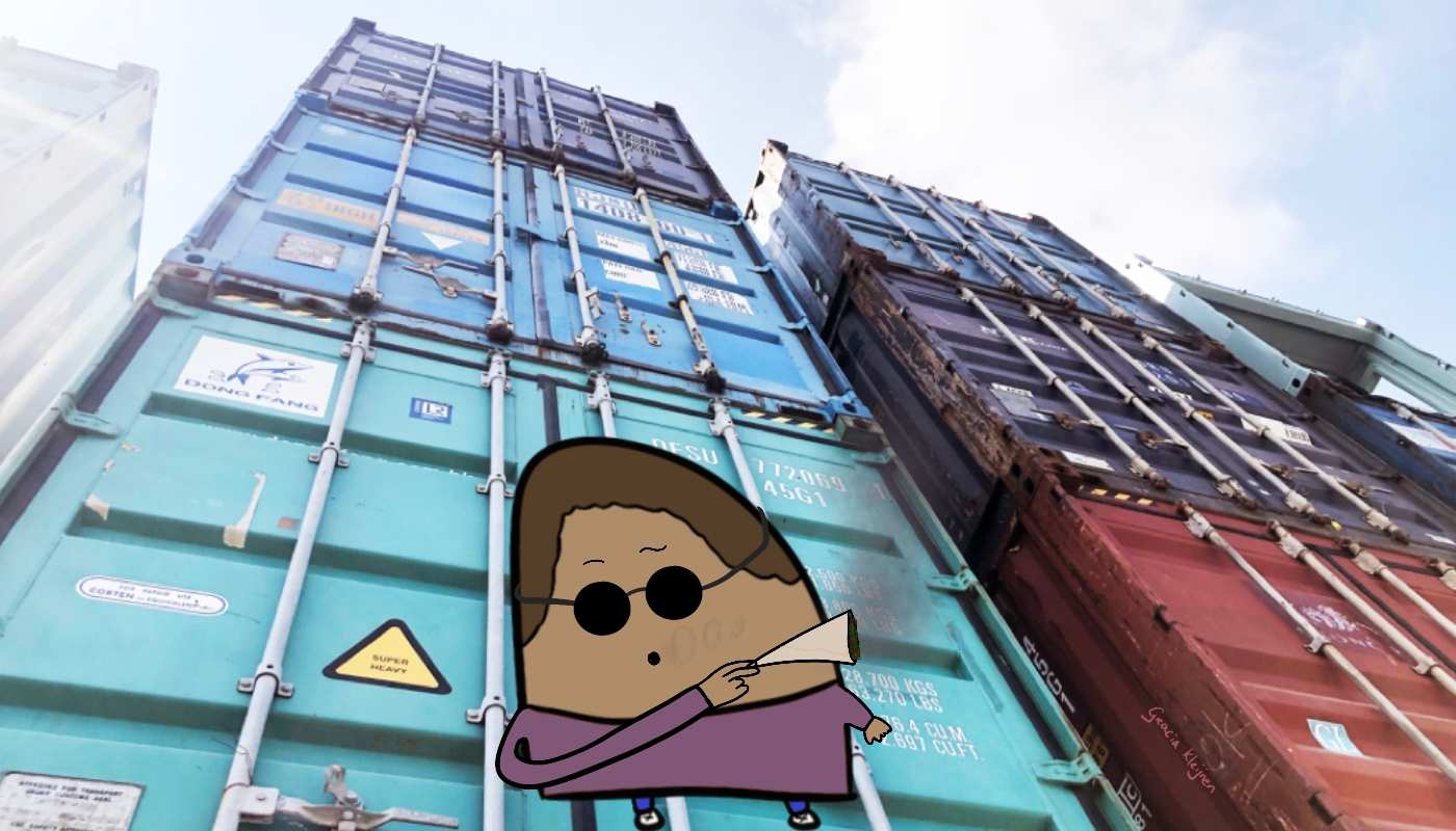 Stacked shipping containers in turquoise, light blue, and dark blue. Right a red one, dark blue, and light blue. The image is taken from the ground up. In the middle is a Blob wearing a purple shirt and smoking a joint. It's wearing sunglasses to look cool.
