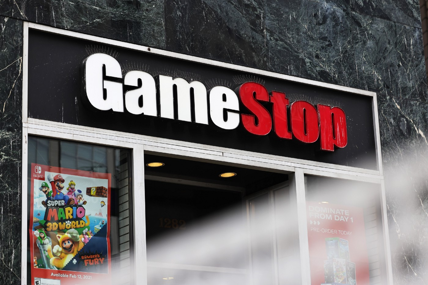 GameStop store signage is seen on January 27, 2021 in New York City.
