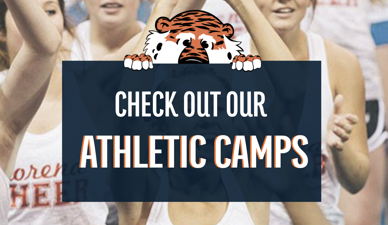 """Cheerleaders in back ground with Aubie Graphic. Title: """"Check out our Athletic Camps"""""""