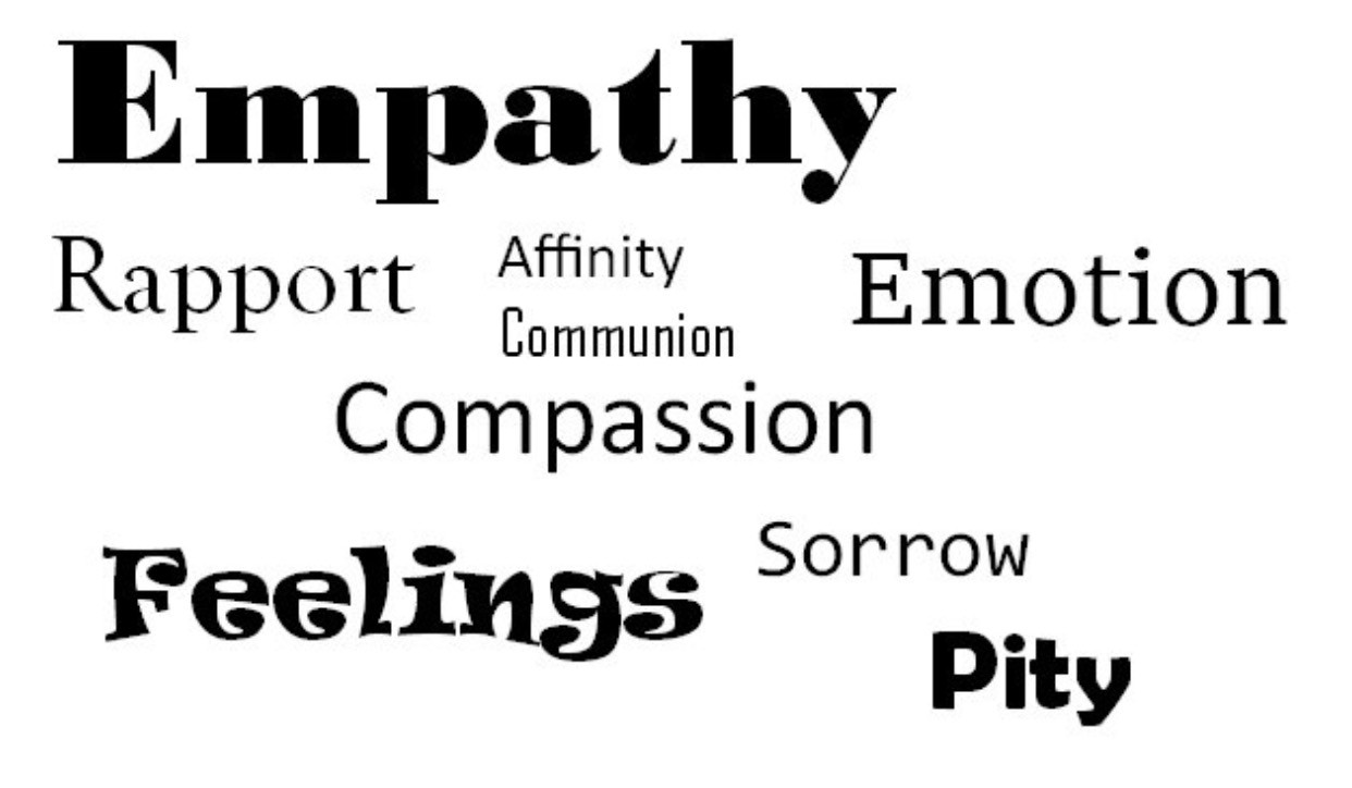 Wordcloud of words like Empathy, rapport, compassion, emotion, affinity and pity