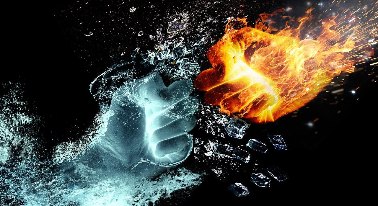 A water fist clashes with a fire fist! No humility to be found