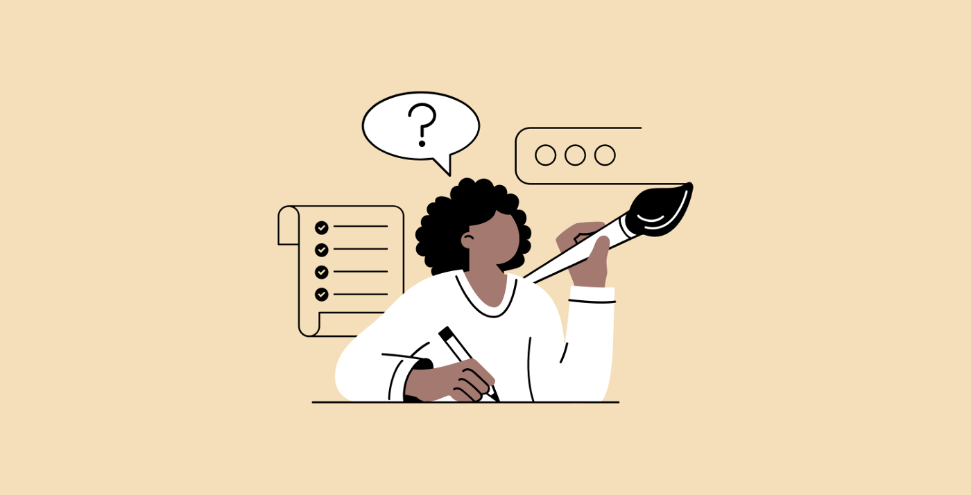 Illustration showing a designer with speech bubble over their head and user interface iconography in the background. The speech bubble contains a question mark.