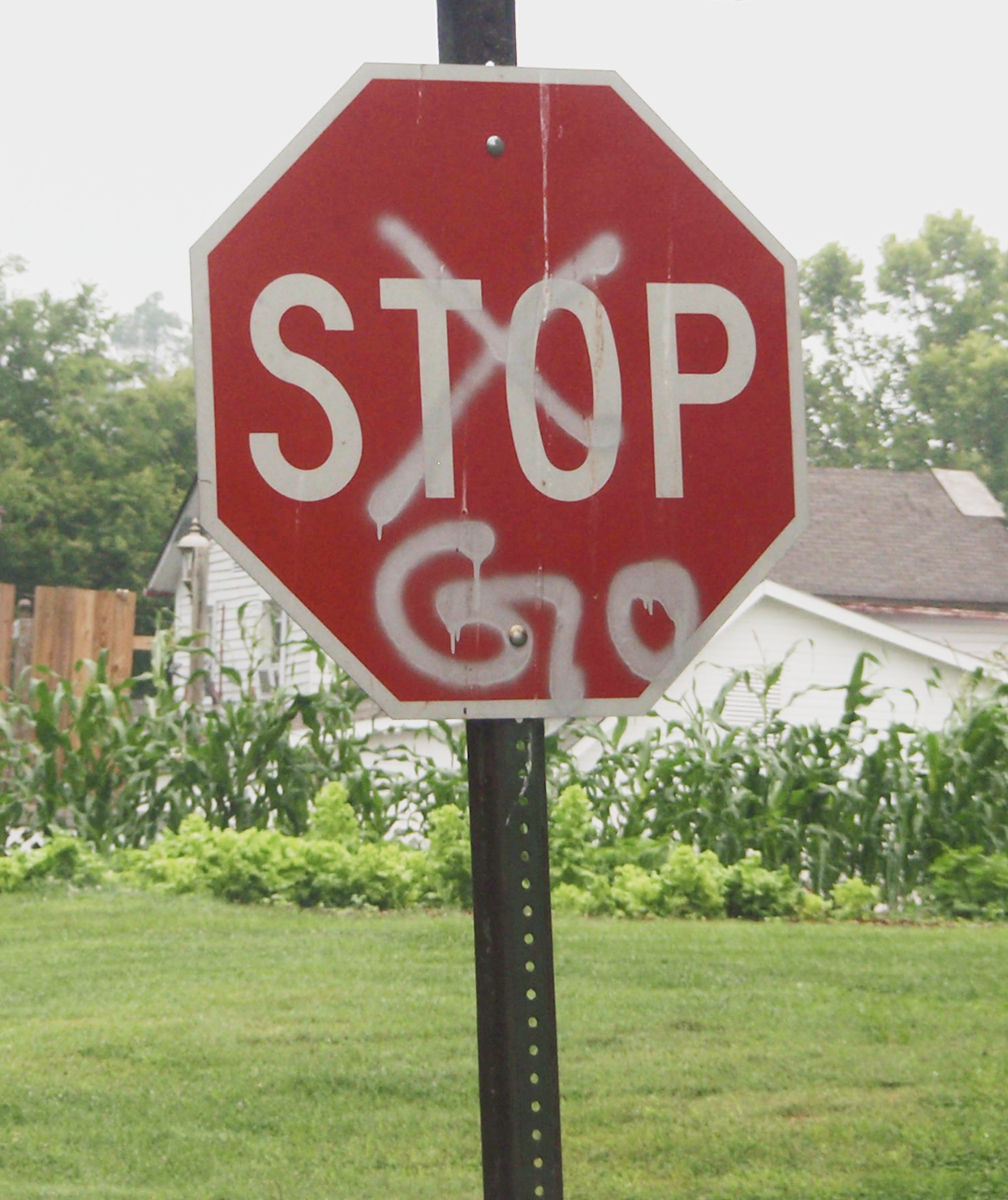 "A Stop sign with the word ""Stop"" crudely crossed out and replaced with spray painted ""Go"""