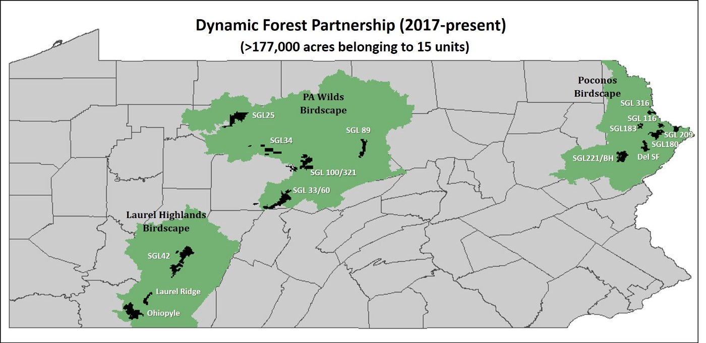 A map showing priority forest areas in Pennsylvania