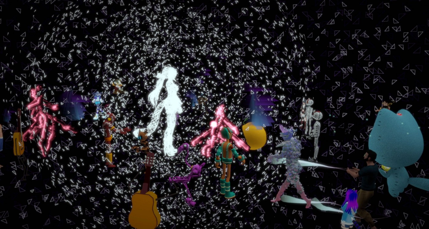 Digital avatars surround a white figure with floating white dots interspersed through a virtual world during the Immerse world hop of Venice VR Expanded 2021. This image is a screenshot from Joe Hunting's video, Immerse x Venice.