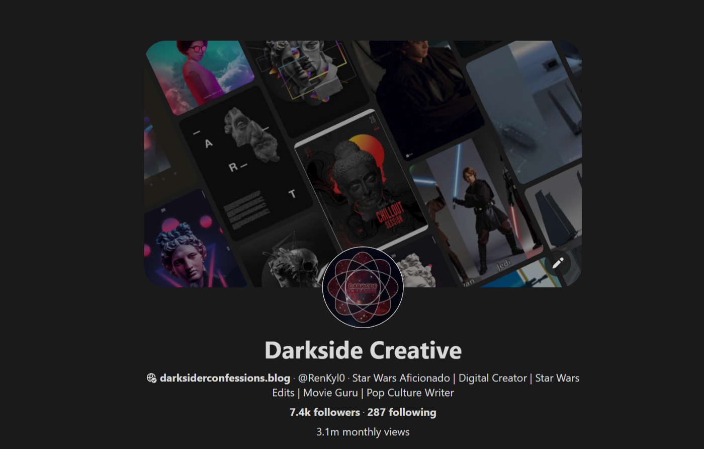 Darkside Creative's Pinterest Profile owned by Julie Gray