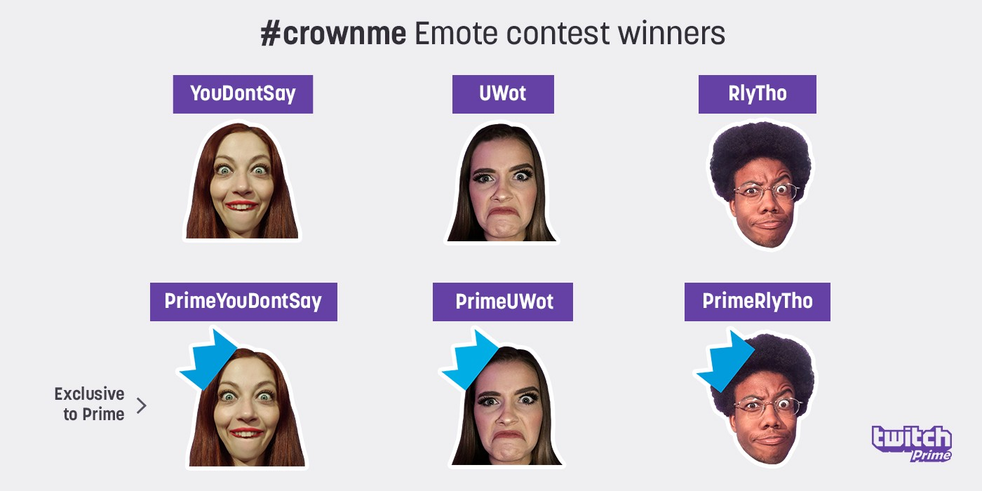 New Twitch Emotes from the Twitch Prime #crownme Contest