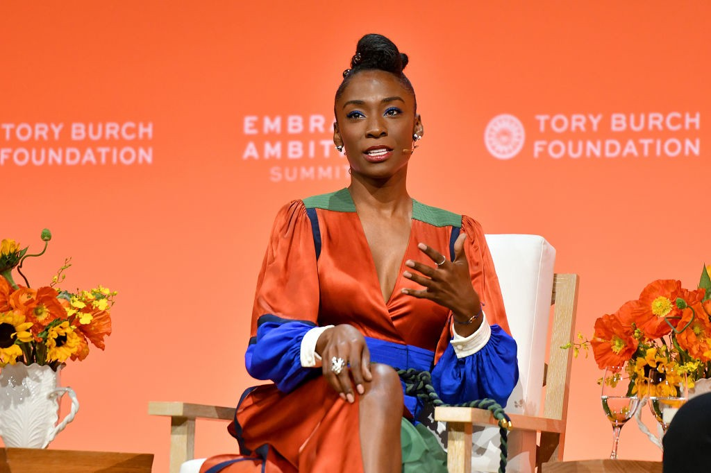 A photo of Angelica Ross speaking at the 2020 Embrace Ambition Summit.
