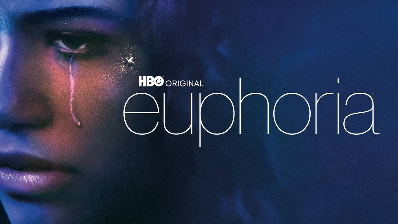Zendaya is shown with a tear on her face. Euphoria is written in large letters.