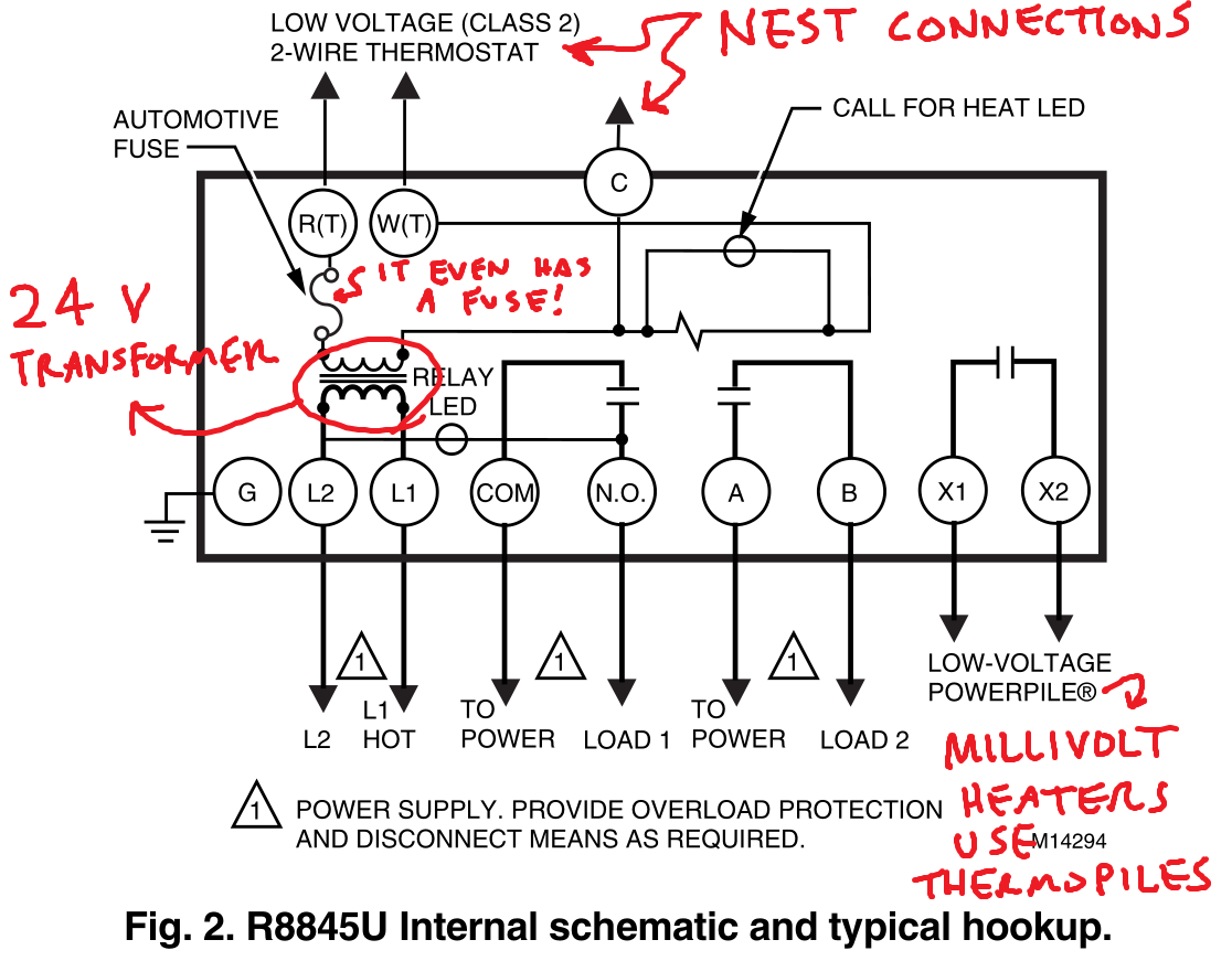 Controlling an ancient millivolt heater with a Nest on