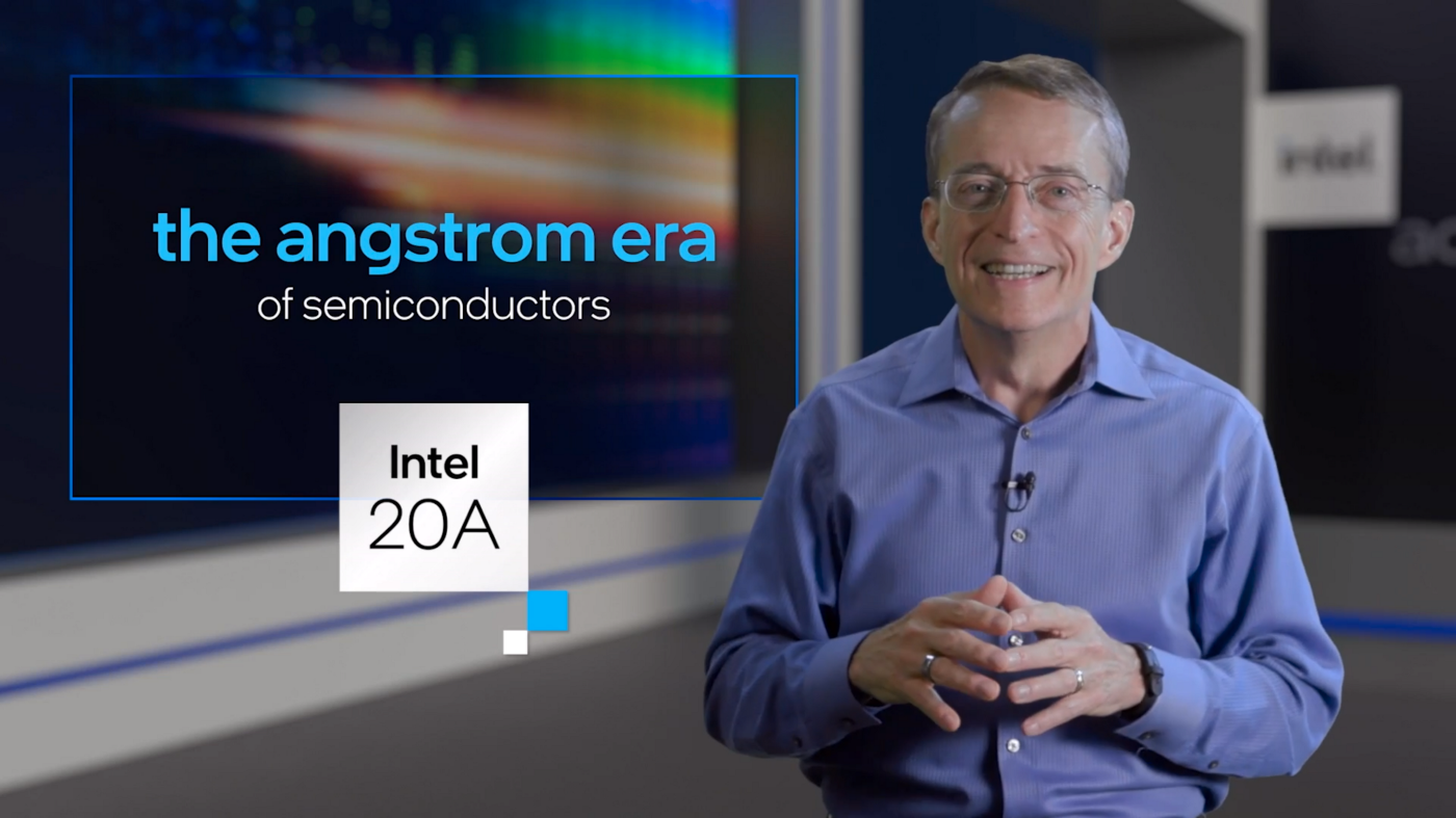 screen capture of Intel CEO Pat Gelsinger discussing the angstrom era of process technology
