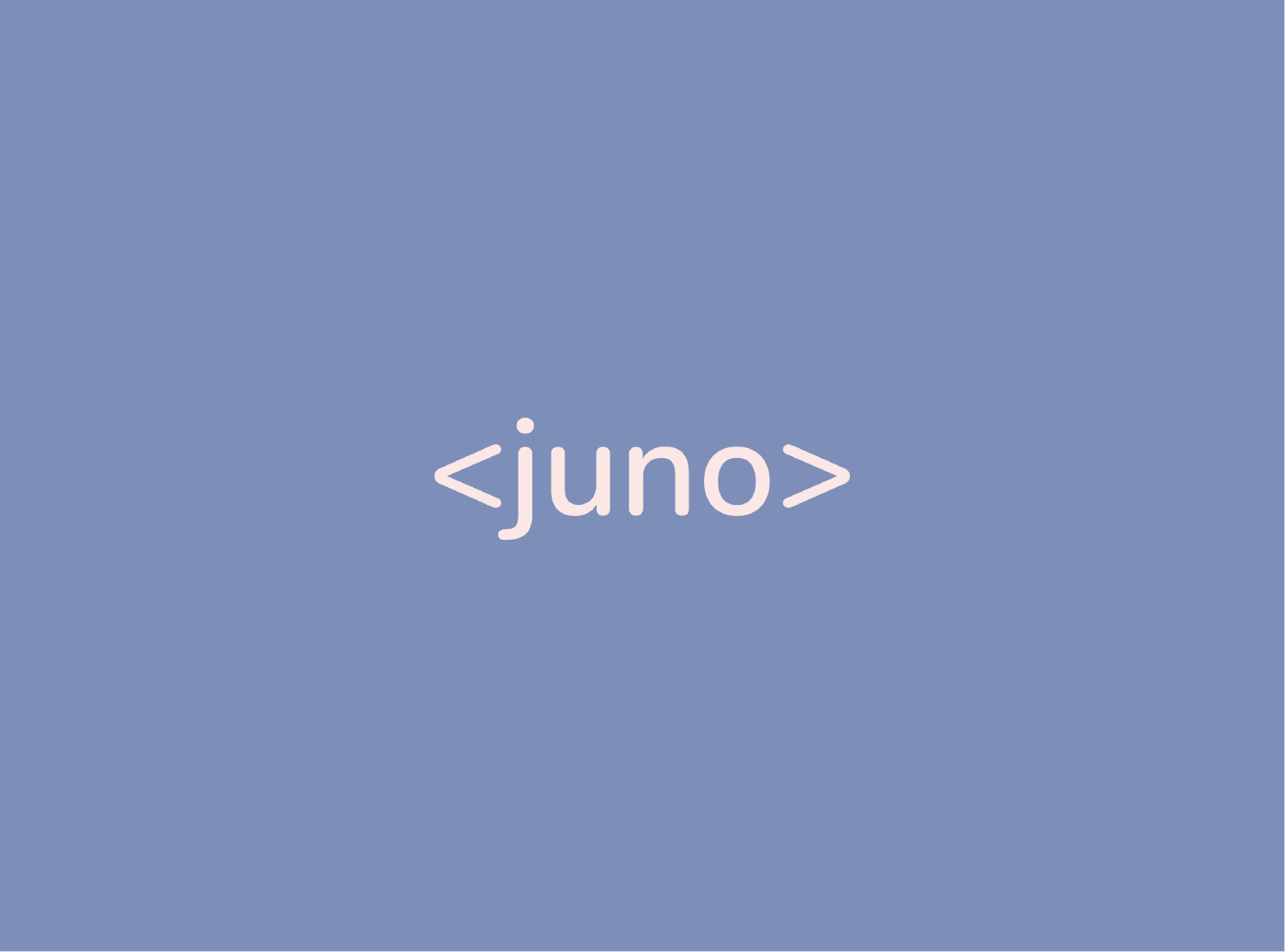 An opening HTML bracket with the word Juno inside to indicate the beginning of a journey