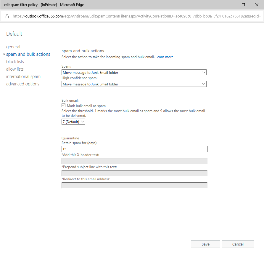 screenshot of Office 365's spam and bulk actions