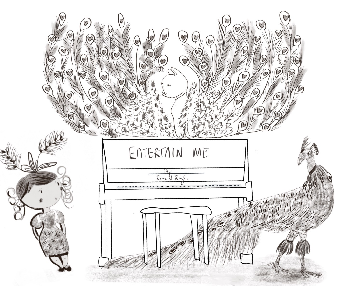 An illustration of a girl standing next to a piano with a peacock and peacock feather arrangement.