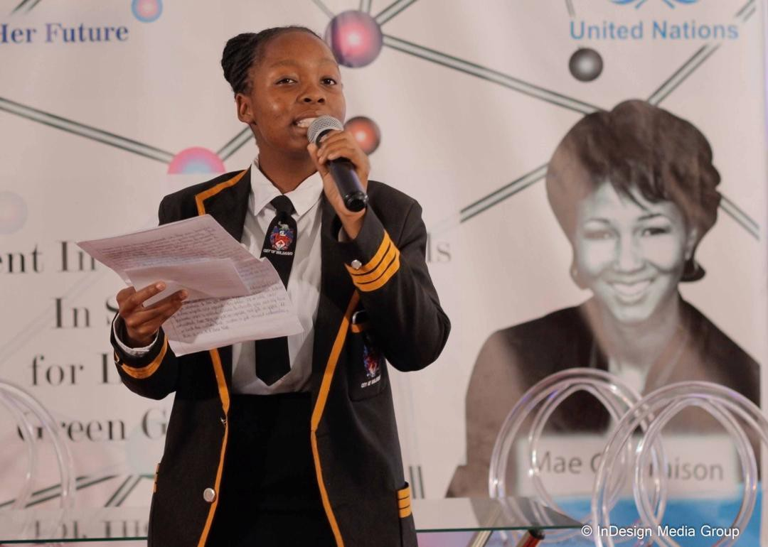 Thubelihle Nkiwane speaking atan event during the International Day of the Girl Child, where she addressed girls on taking up careers in STEM.