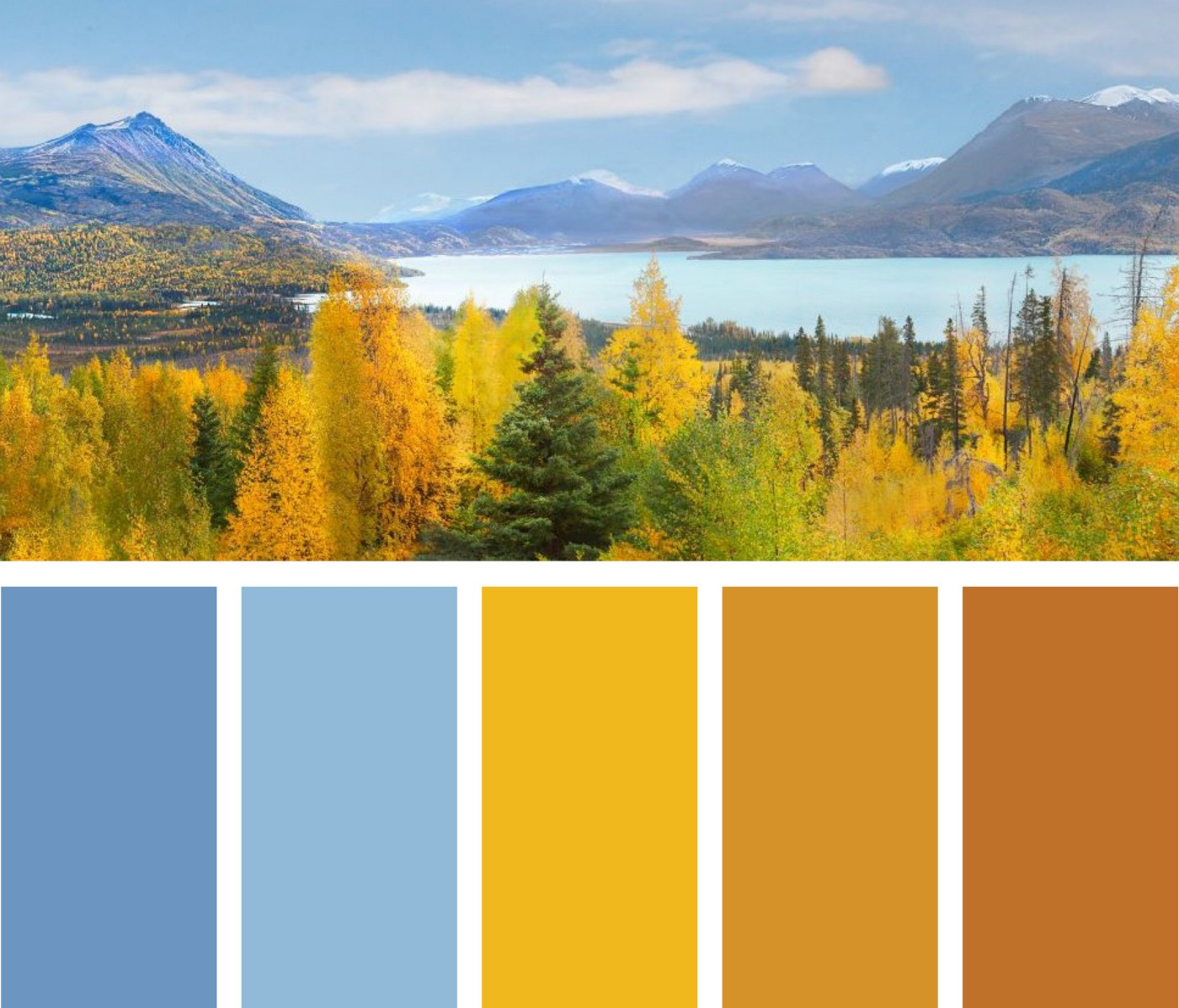 Landscape of lake, mountains, and trees at Kenai National Wildlife Refuge with color blocks of blues, yellows, oranges