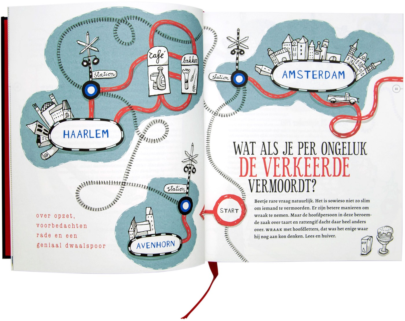 Inside spread photograph, shows an animated cartoonish illustrated spread using green and red colours of places in Holland