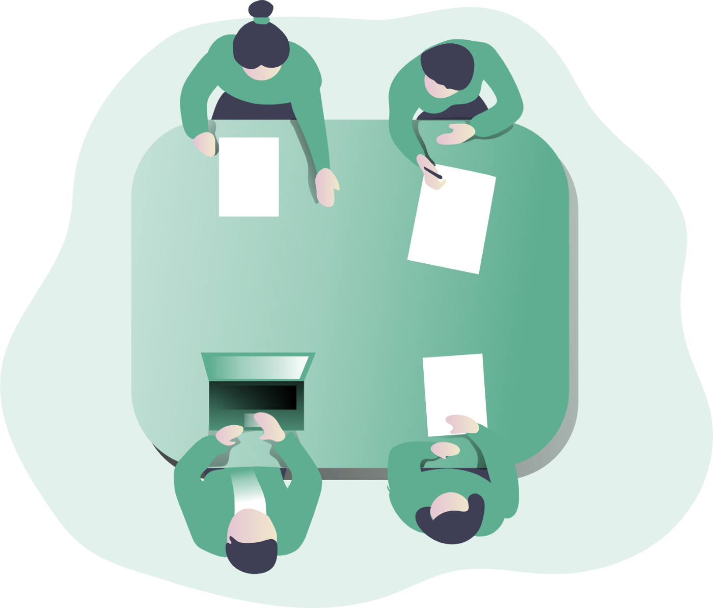 Four individuals sitting at a table having a team meeting.