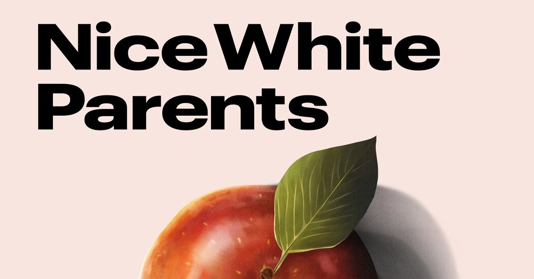 Nice White Parents written on a pale pink background over half a red apple with a strong green leaf.