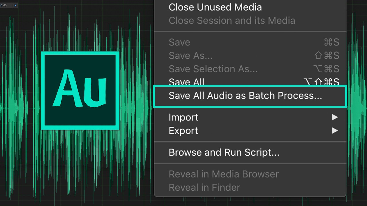 281: Adobe Audition: Save All Audio As Batch Process